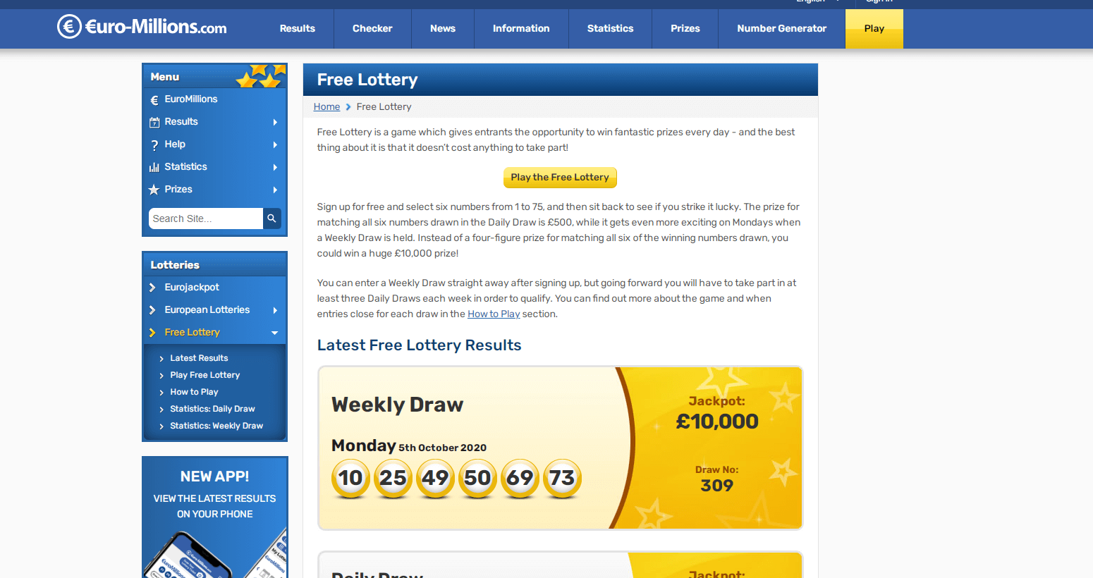 EuroMillions Free Lottery
