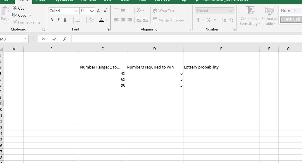 Determine Lottery Probability I
